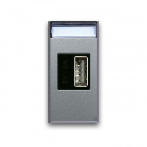USB Ladegerät Aluminiumfarbig glänzend. Schmal = 1/2 Steckdosenbreite