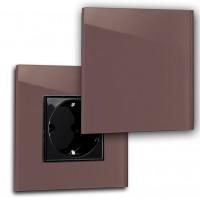 Dunkel-Rote 1-fach Steckdose mit Abdeckung, Klappe in der Farbe: EATING ROOM RED ® von Farrow & Ball Nr.: 43