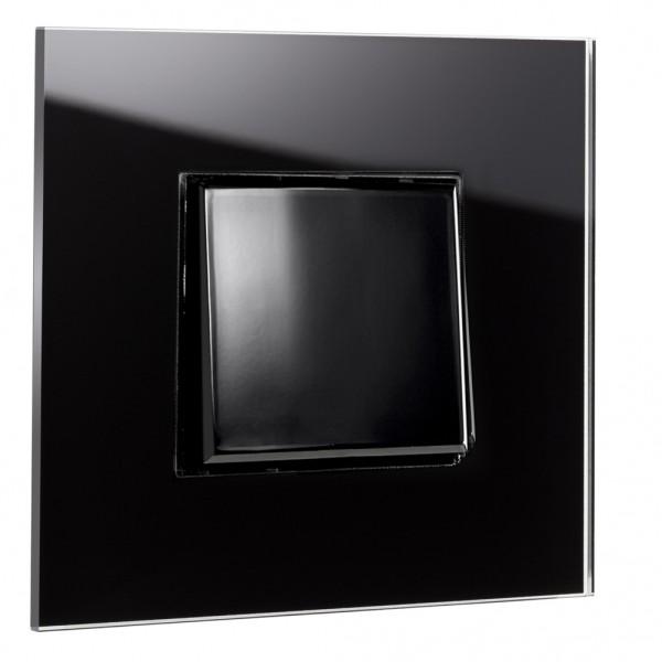 Schwarzer, moderner 1-fach Lichtschalter von ROHDE+ROHDE in der Farbe: PITCH BLACK ® von Farrow & Ball Nr.: 256.