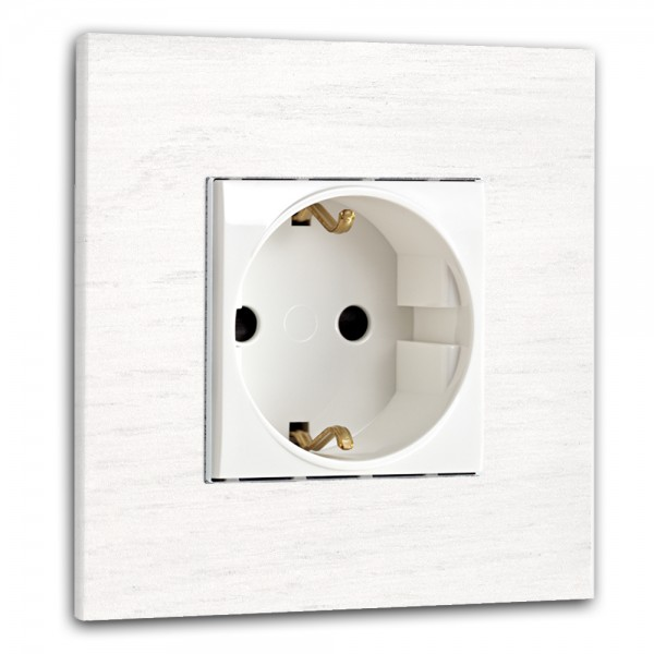 Weiße Steckdose 1-fach. Steckdosen-Rahmen Eichen-Holz lackiert in der Farbe: ALL WHITE ® von Farrow & Ball Nr.: 2005.