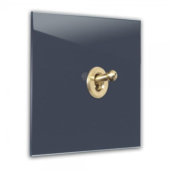 Dunkel-Blauer 1-fach Retro-Lichtschalter mit Messing Kipphebel in der Farbe: STIFFKEY BLUE ® von Farrow & Ball Nr.: 281
