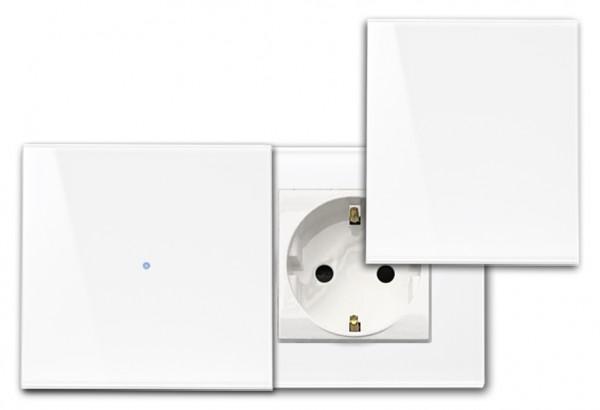 Glas Touch-Schalter-Steckdosen-Kombination 230V mit Abdeckung. Touch-Screen, Berührungs-Schalter in Farrow & Ball Farbe. ROHDE+ROHDE
