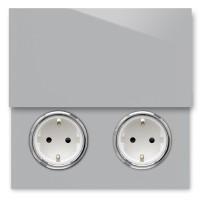 Beton farbene 2-fach Steckdose mit Abdeckung und Chrom Einfassung in der Farbe: WORSTED ® von Farrow & Ball Nr.: 284