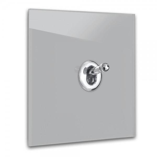 Beton farbener 1-fach Retro-Lichtschalter mit Chrom Kipphebel in der Farbe: WORSTED ® von Farrow & Ball Nr.: 284