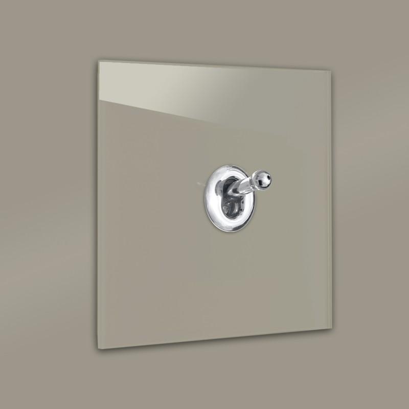 Lichtschalter Retro - viele Varianten. Braun Glas Luxus mit hochwertigem modernem Chrom Designer Kipphebelschalter von ROHDE+ROHDE