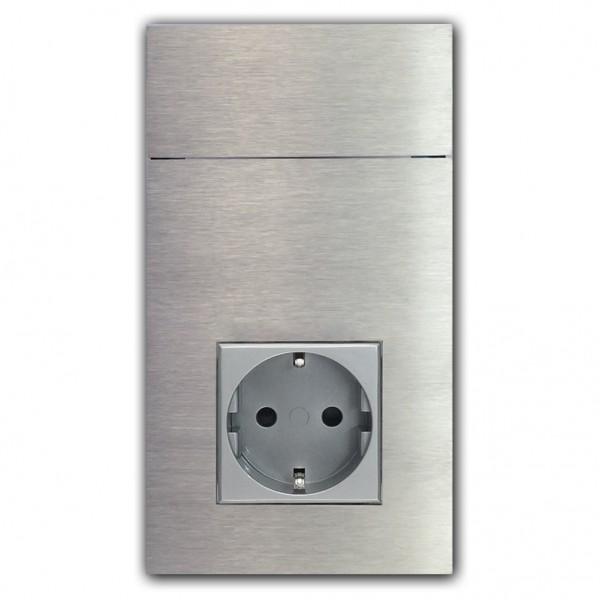2-fach Touch-Schalter mit Steckdose. 3.WAHL. EDELSTAHL 230V. VDE-zertifiziert