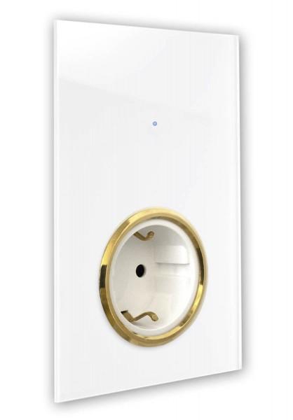 Weiße 1-fach Touch-DIMMER-Steckdosen-Kombination mit Messing-Einfassung, 230V in der Farbe: ALL WHITE ® von Farrow & Ball Nr.: 2005.