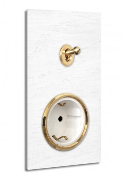 Weiße 1-fach Retro-Lichtschalter-Steckdosen-Kombination mit MESSING-Kipphebel in der Farbe: ALL WHITE ® von Farrow & Ball Nr.: 2005. ROHDE+ROHDE