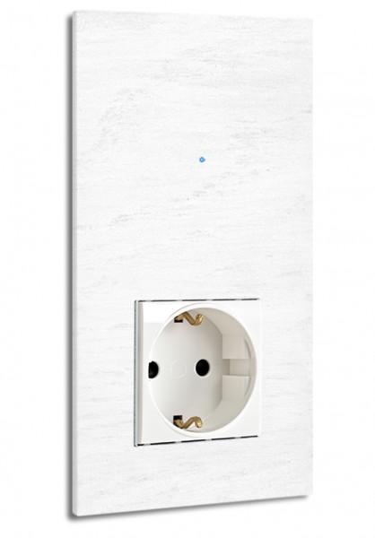Weiße Touch-Lichtschalter-Steckdosen-Kombination 230V 1-fach in der Farbe: ALL WHITE ® von Farrow & Ball Nr.: 2005.