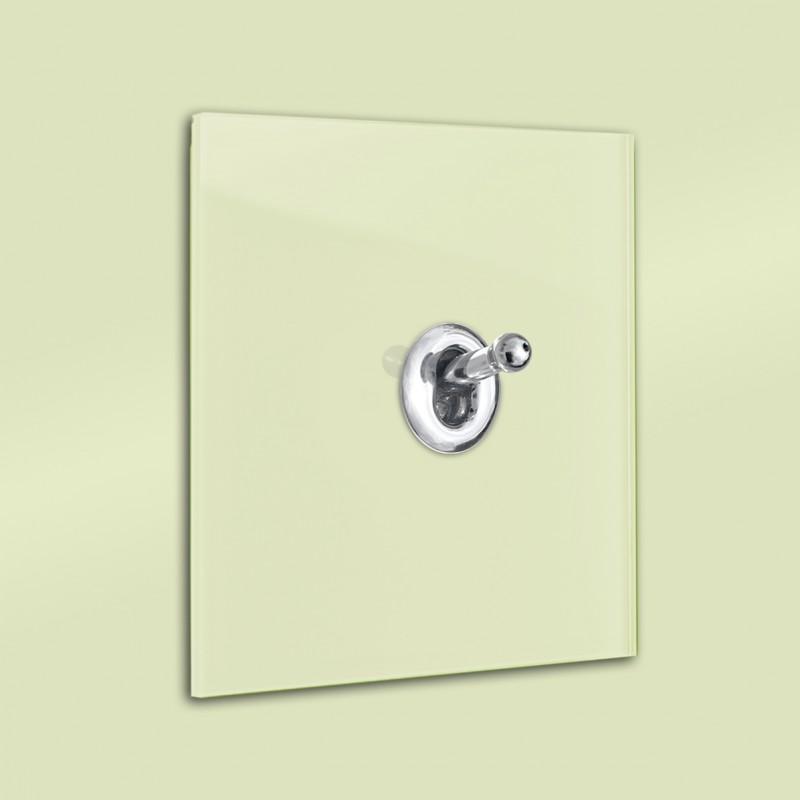 Hell-Grüner 1-fach moderner Retro-Lichtschalter mit Silber CHROM Kipphebel in der Farbe: COOKING APPLE GREEN ® von Farrow & Ball Nr.: 32Hell-Grüner 1-fach moderner Retro-Lichtschalter mit Silber CHROM Kipphebel in der Farbe: COOKING APPLE GREEN ® von Farrow & Ball Nr.: 32