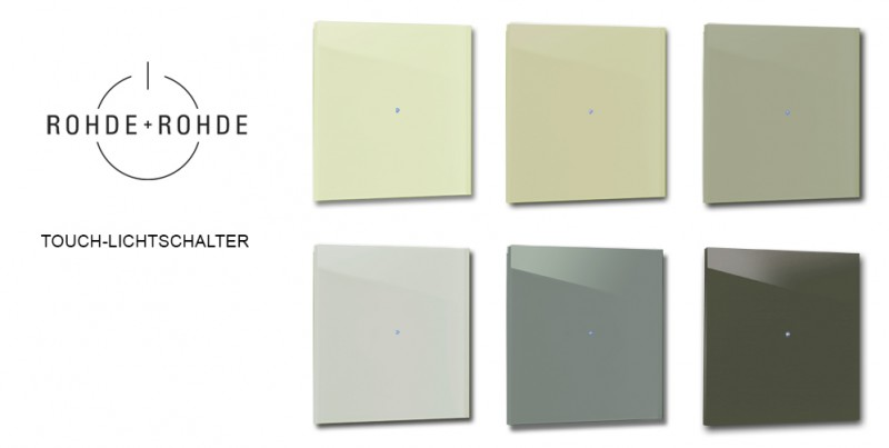Farbige, grüne Glas Design-Lichtschalter in Farrow & Ball Farben von ROHDE+ROHDE
