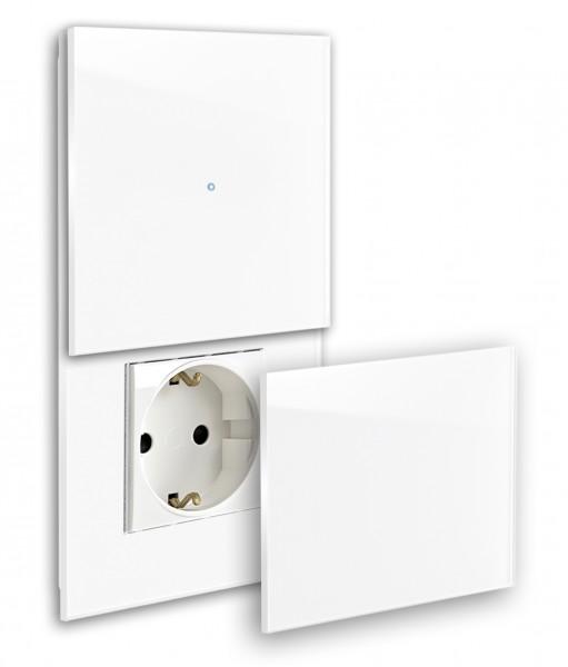 Touch-Schalter - Glas-Optik - 230V, RAL-Farbe, Steckdose mit Abdeckung.(E)