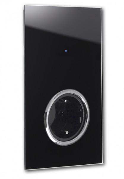 """Schwarze Touch-Lichtschalter-Steckdosen-Kombination. CHROM. 230V. 1-fach in der Farbe: PITCH BLACK ® von Farrow & Ball Nr.: 256. ROHDE+ROHDE. """"NOVA Color""""."""