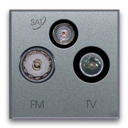 TV-FM/SAT Anschlussdose (3fach). Silberfarben. Antennenanschluß