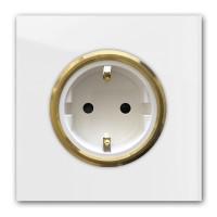 Zart-Graue 1-fach Steckdose mit Messing-Einfassung in der Farbe: STRONG WHITE ® von Farrow & Ball Nr.: 2001