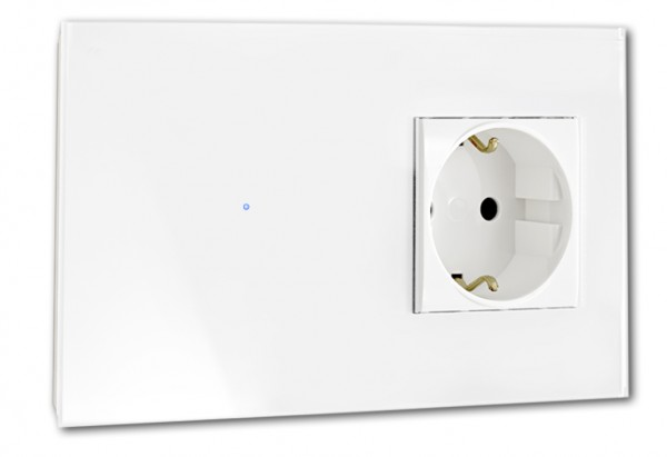 Farbige Glas Lichtschalter Touch-Schalter-Steckdosen-Kombination 230V. Touch-Screen, Bunter Berührungs-Schalter in Farrow & Ball Farbe. ROHDE+ROHDE