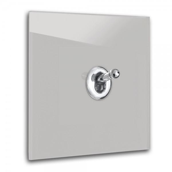 Warm Grauer 1-fach Retro-Lichtschalter mit Chrom Kipphebel in der Farbe: DOVE TALE ® von Farrow & Ball Nr.: 267