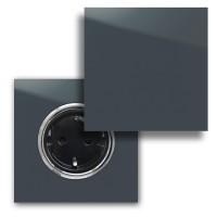 Nacht-Blaue Steckdose mit Chrom-Einfassung und Klappe in der Farbe: HAGUE BLUE ® von Farrow & Ball Nr.: 30