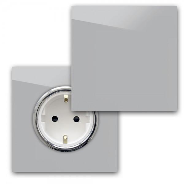 Beton farbene 1-fach Steckdose mit Abdeckung und Chrom Einfassung in der Farbe: WORSTED ® von Farrow & Ball Nr.: 284