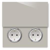 Beige 2-fach Steckdose mit Abdeckung und Chrom Einfassung in der Farbe: ELEPHANT`S BREATH ® von Farrow & Ball Nr.: 229