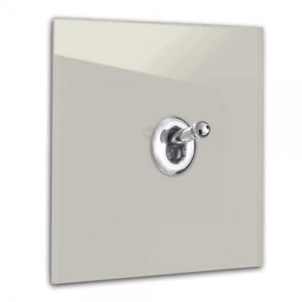 Beiger 1-fach Retro-Lichtschalter mit Chrom Kipphebel in der Farbe: ELEPHANT`S BREATH ® von Farrow & Ball Nr.: 229