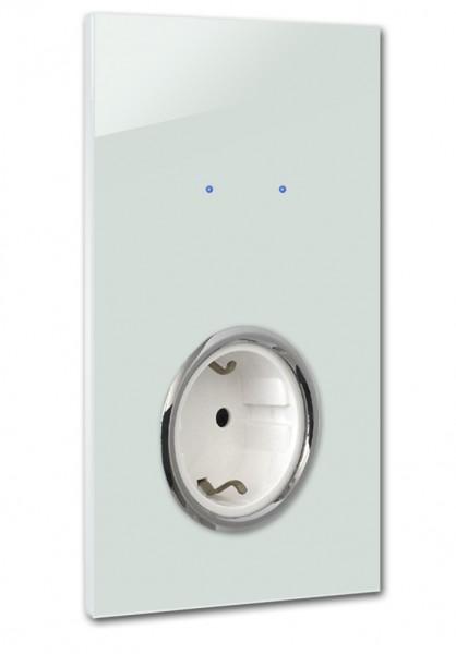 "Mint farbene Touch-Lichtschalter-Steckdosen-Kombination. CHROM. 230V. 2-fach in der Farbe: TERESA`S GREEN ® von Farrow & Ball Nr.: 236. ROHDE+ROHDE. ""NOVA Color""."