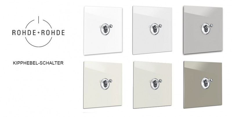 Design-Lichtschalter Braun Beige Glas Retro-Schalter LED beleuchtet von ROHDE+ROHDE