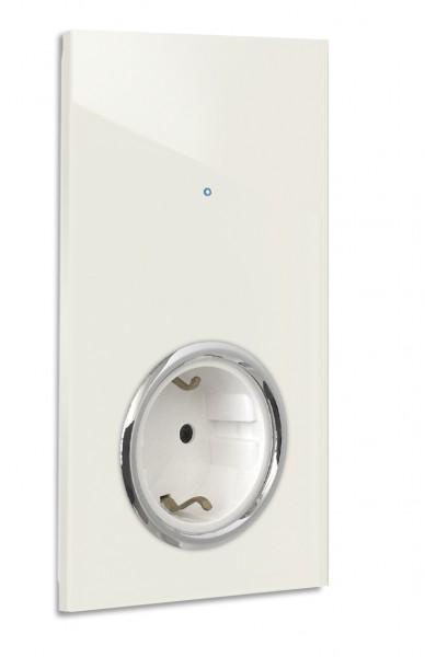 """Warm Weiße Touch-Lichtschalter-Steckdosen-Kombination. CHROM. 230V. 1-fach in der Farbe: SLIPPER SATIN ® von Farrow & Ball Nr.: 2004. ROHDE+ROHDE. """"NOVA Color""""."""