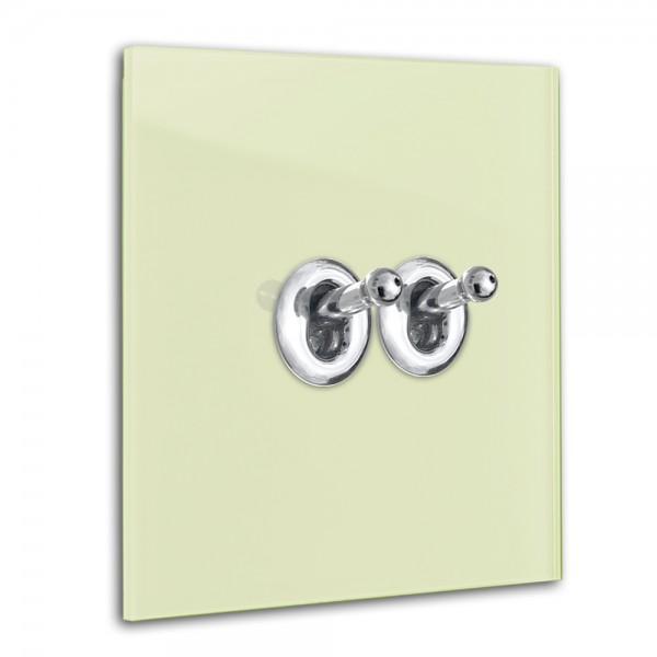 Hell-Grüner 2-fach Retro-Lichtschalter mit Chrom Kipphebel in der Farbe: COOKING APPLE GREEN ® von Farrow & Ball Nr.: 32