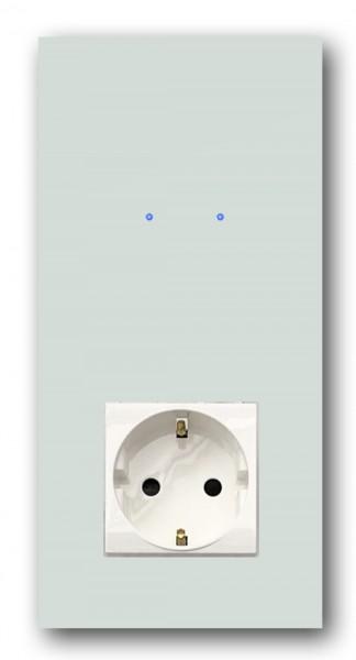 "Mint farbene Touch-Lichtschalter-Steckdosen-Kombination 230V 2-fach in der Farbe: TERESA`S GREEN ® von Farrow & Ball Nr.: 236. ROHDE+ROHDE. ""NOVA Color""."
