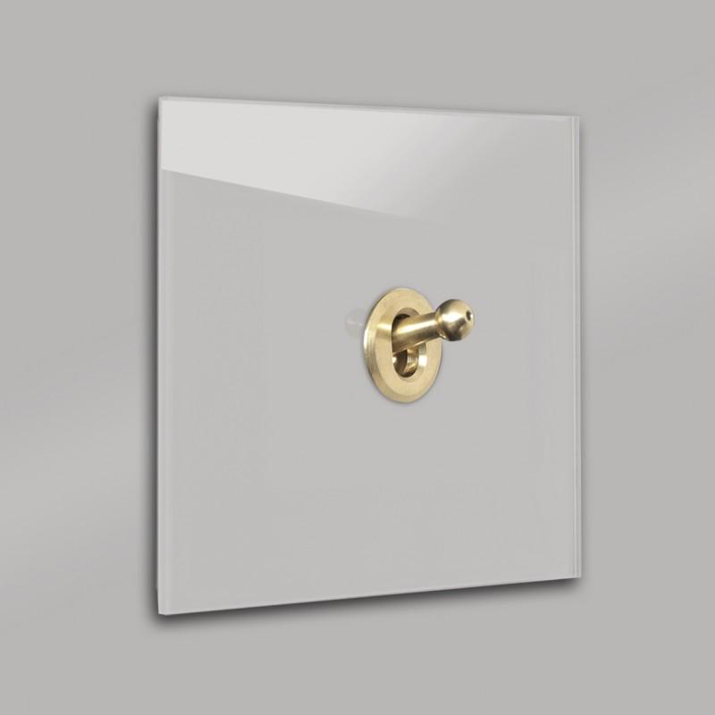 Warm Grauer 1-fach moderner Retro-Lichtschalter mit Gold Kipphebel in der Farbe: DOVE TALE ® von Farrow & Ball Nr.: 267