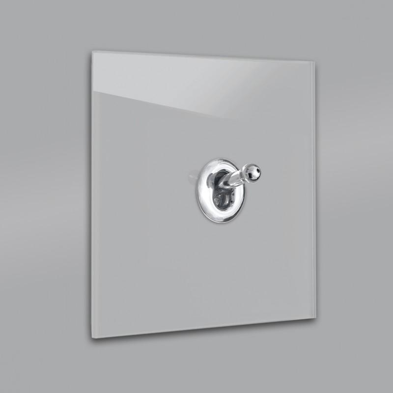 Lichtschalter Retro - viele Varianten. Grau Glas Luxus mit hochwertigem modernem Chrom Designer Kipphebelschalter von ROHDE+ROHDE