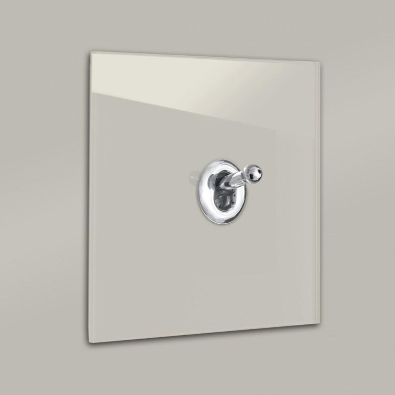 Lichtschalter Retro - viele Varianten. Beige Glas Luxus mit hochwertigem modernem Chrom Designer Kipphebelschalter von ROHDE+ROHDE