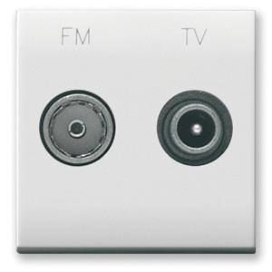 TV / SAT Anschlussdose (2fach). Weiß glänzend.