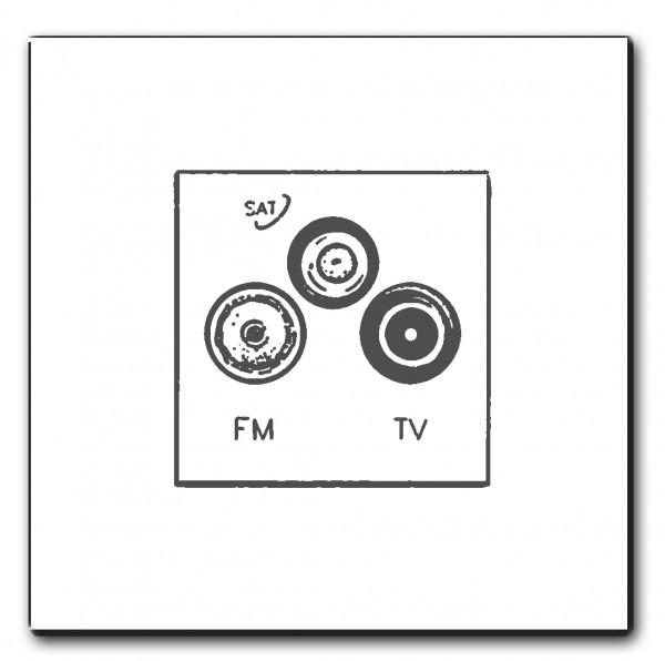 TV-FM/SAT Anschlussdose (3fach) , Eiche +Farbe, Antennenanschluß, Komplett-Set