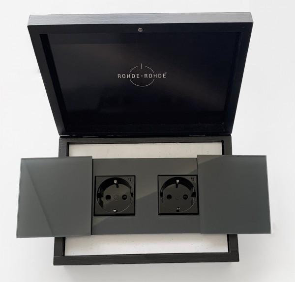 Muster-Leihgabe zur Ansicht - Doppel-Steckdose mit Abdeckungen MAXIM Glas-Optik