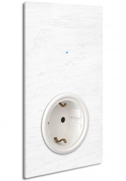 """Weiße Touch-Lichtschalter-Steckdosen-Kombination. Weiß. 230V. 1-fach in der Farbe: ALL WHITE ® von Farrow & Ball Nr.: 2005. ROHDE+ROHDE. """"NOVA Color""""."""