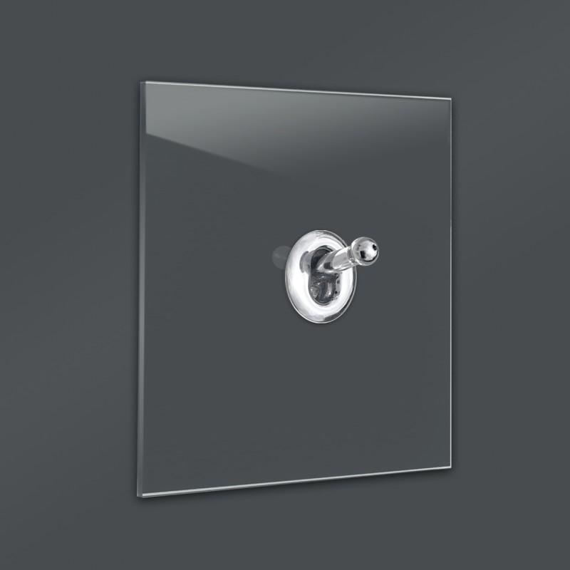Dunkel Grauer 1-fach moderner Retro-Lichtschalter mit Silber CHROM Kipphebel in der Farbe: DOWN PIPE ® von Farrow & Ball Nr.: 26