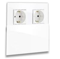 Weiße Doppel-Steckdose 2-fach mit Abdeckung, Klappe in der Farbe: ALL WHITE ® von Farrow & Ball Nr.: 2005.