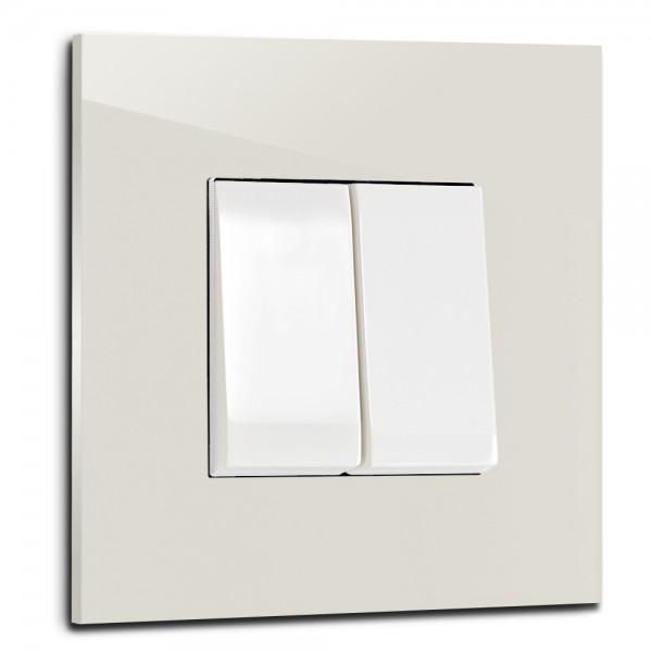 Ecu farbener, moderner 2-fach Lichtschalter von ROHDE+ROHDE in der Farbe: SKIMMING STONE ® von Farrow & Ball Nr.: 241