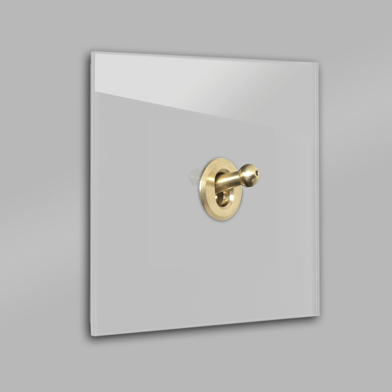 Grauer 1-fach moderner Retro-Lichtschalter mit Gold Kipphebel in der Farbe: PURBECK STONE ® von Farrow & Ball Nr.: 275