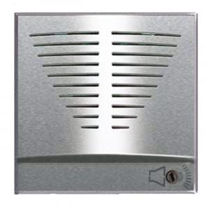 Elektronische Tür-KLINGEL mit sechs wählbaren Tönen. Silberfarben