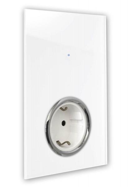 """Touch-Lichtschalter-Steckdosen-Kombination 230V mit Steckdose, Chrom-Einfassung. """"NOVA Color"""""""