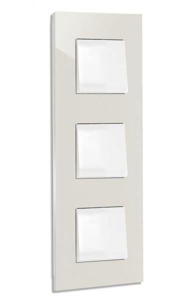 Ecu farbener, moderner 3-fach Lichtschalter von ROHDE+ROHDE in der Farbe: SKIMMING STONE ® von Farrow & Ball Nr.: 241