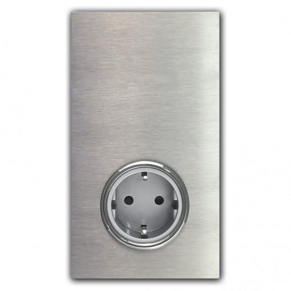1-fach EDELSTAHL Touch-Schalter mit Steckdose 230V. VDE-zertifiziert