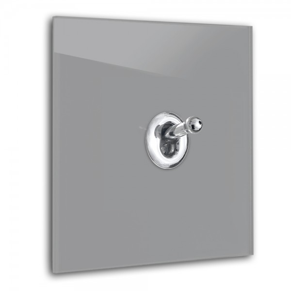 Dunkel-Grauer 1-fach Retro-Lichtschalter mit Chrom Kipphebel in der Farbe: MOLE`S BREATH ® von Farrow & Ball Nr.: 276