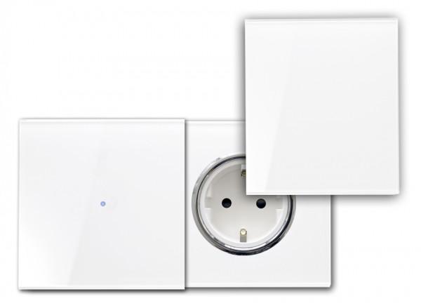 Touch-Schalter - Glas-Optik - 230V - RAL Farben, mit Steckdose, Abdeckung.(C)