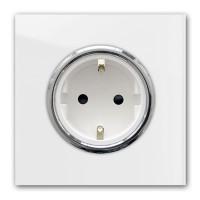 Zart-Graue 1-er Steckdose mit Silber-Einfassung in der Farbe: STRONG WHITE ® von Farrow & Ball Nr.: 2001