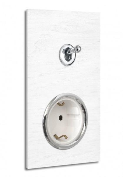 Weiße 1-fach Retro-Lichtschalter-Steckdosen-Kombination mit CHROM-Kipphebel in der Farbe: ALL WHITE ® von Farrow & Ball Nr.: 2005. ROHDE+ROHDE