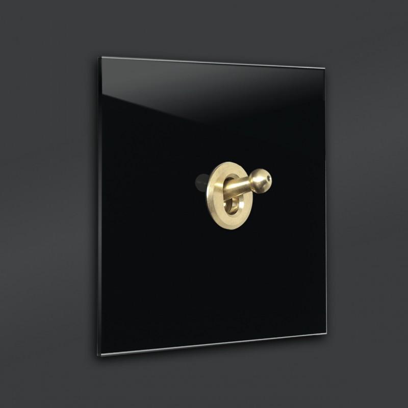 Schwarzer 1-fach moderner Retro-Lichtschalter mit Gold Kipphebel in der Farbe: PITCH BLACK ® von Farrow & Ball Nr.: 256.